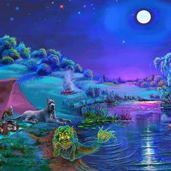 Пазл онлайн: Ночная рыбалка