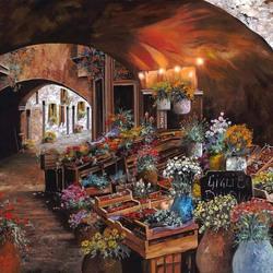Пазл онлайн: Цветочный рынок