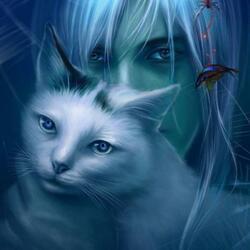 Пазл онлайн: Кошка и её человек