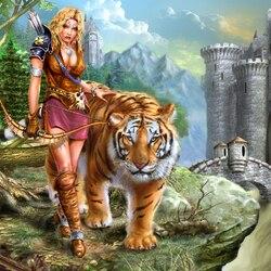 Пазл онлайн: Девушка с тигром