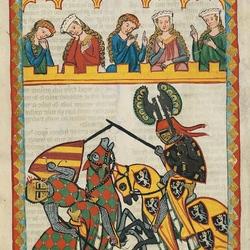 Пазл онлайн: Рыцарь Вальтер фон Клинген на турнире
