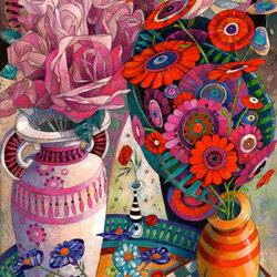 Пазл онлайн: Натюрморт с цветами, грушами и шашками