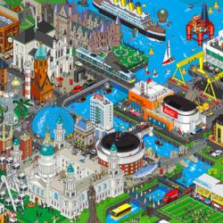 Пазл онлайн:  Город на побережье