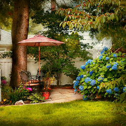 Пазл онлайн: Уголок в саду