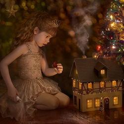 Пазл онлайн: Девочка и игрушечный домик