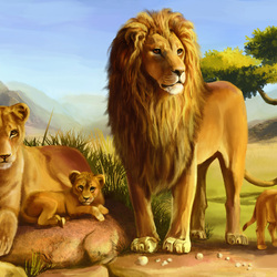 Пазл онлайн: Львиное семейство