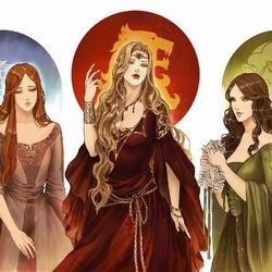 Пазл онлайн: Санса, Серсея и Маргери