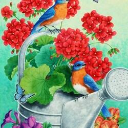 Пазл онлайн: Герань и птичка