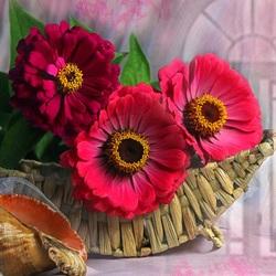 Пазл онлайн: Красивый букет циний