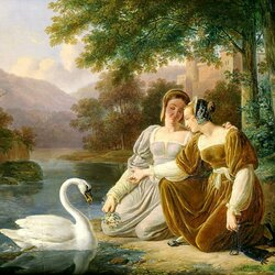 Пазл онлайн: Девушки и лебедь