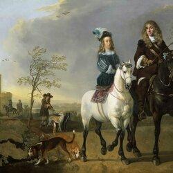 Пазл онлайн: Дама и кавалер верхом