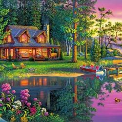 Пазл онлайн: Дом у озера