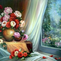 Пазл онлайн: Букет на окне