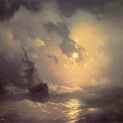Пазл онлайн: Буря на море ночью