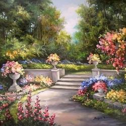 Пазл онлайн: Цветочная аллея