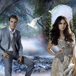 Пазл онлайн: Стефан и Елена