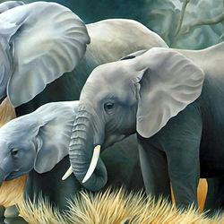 Пазл онлайн: Семейство слонов