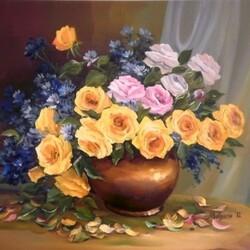 Пазл онлайн: Васильки и розы