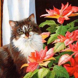 Пазл онлайн: Кошка и цветок
