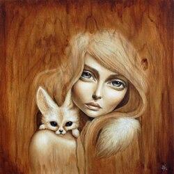 Пазл онлайн: Девушка и лис