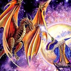 Пазл онлайн: Волшебник и дракон