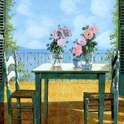 Пазл онлайн: Розы и балкон