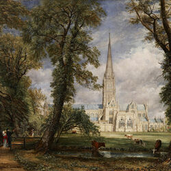 Пазл онлайн: Вид на собор в Солсбери из епископского сада