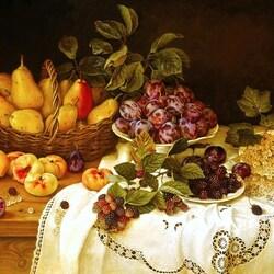 Пазл онлайн: Летние фрукты на столе