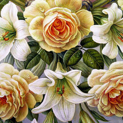 Пазл онлайн: Розы и лилии