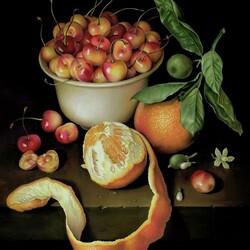 Пазл онлайн: Натюрморт с чашкой черешни и двумя апельсинами