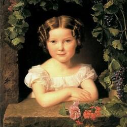 Пазл онлайн: Девочка с виноградом