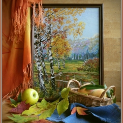 Пазл онлайн: Осенний натюрморт с вышивкой и фруктами