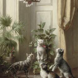 Пазл онлайн: Попугай и кошки