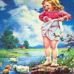 Пазл онлайн: Девочка и утята