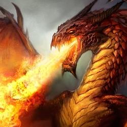 Пазл онлайн: Красный дракон