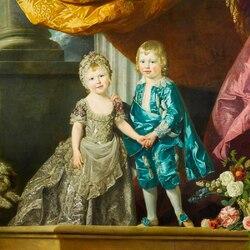 Пазл онлайн: Принцесса Шарлотта и принц Уильям