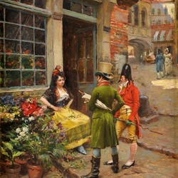 Пазл онлайн: Джентльмены и цветочница