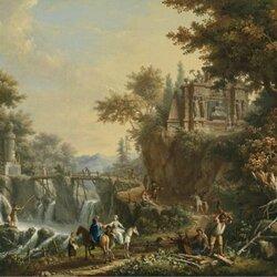 Пазл онлайн: Пейзаж со старинными руинами и водопадом