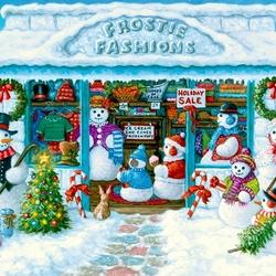 Пазл онлайн: Модные снеговики
