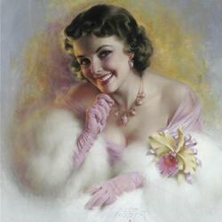 Пазл онлайн: Дама в розовом