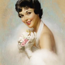 Пазл онлайн: Дама в белом