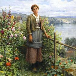 Пазл онлайн: Девушка у кустов роз