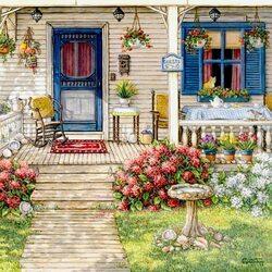 Пазл онлайн: Веранда в цветах