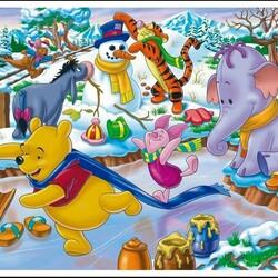 Пазл онлайн: Веселая зима Винни и компании