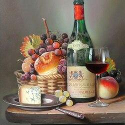 Пазл онлайн: Натюрморт с вином, сыром и фруктами