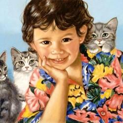 Пазл онлайн: Портрет с котятами
