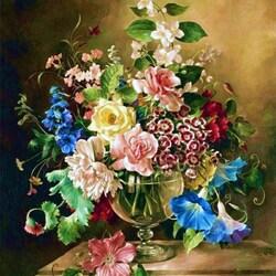 Пазл онлайн: Натюрморт с букетом цветов