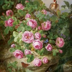 Пазл онлайн: Натюрморт с розами, бабочками и птицей