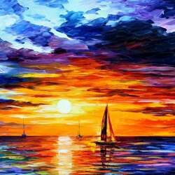 Пазл онлайн: Закат на море