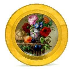 Пазл онлайн: Тарелка с цветами
